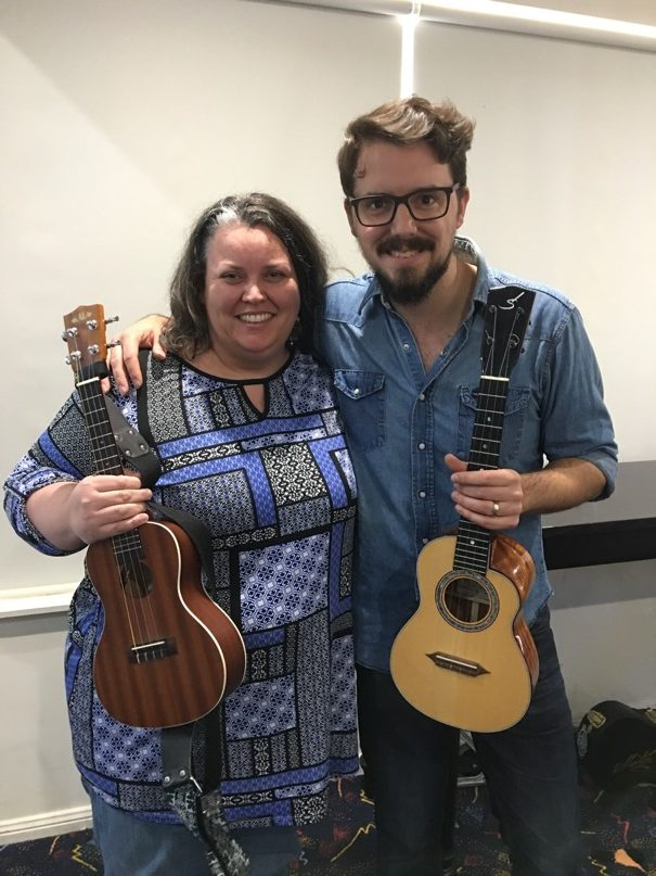 Steph Payne with James Hill at the James Hill Ukulele Initiative in Newcastle NSW (JHUI)